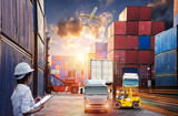 Female dock worker control, Forklift handling container box loading and Container Cargo freight ship with working crane bridge in shipyard at sunrise for Logistic Import Export background - 169063365