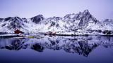 reflection of a village of Lofoten