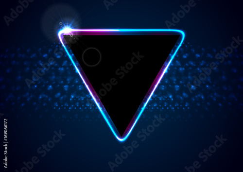 Retro neon 80s shiny triangle abstract background