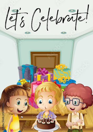 Fotobehang Muziek Kids at birthday party with phrase let's celebrate