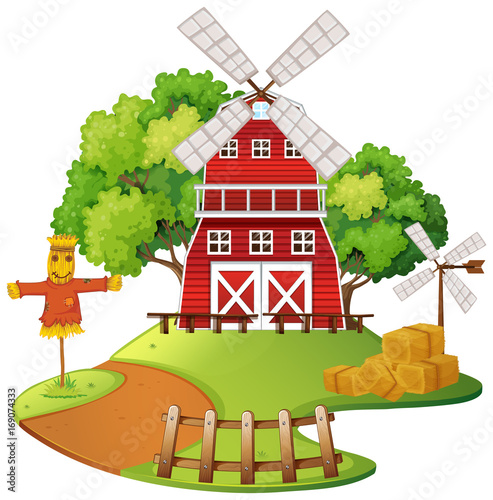 Fotobehang Boerderij Farm scene with windmill and scarecrow