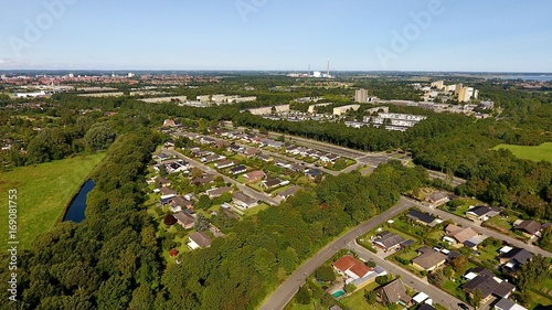 Aerial photo of the city of Odense, Denmark