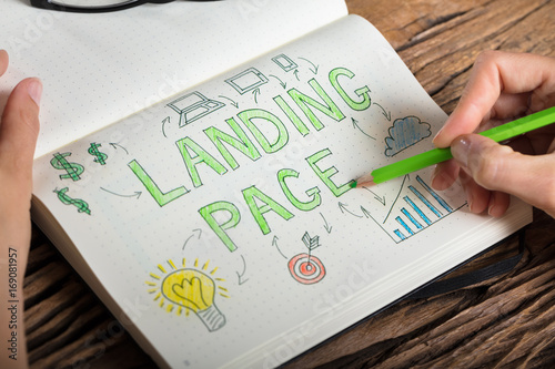 Human Hand Drawing Landing Page Concept On Notebook Poster