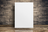 Blank white paper poster hanging at grunge brick wall and wood floor,Mock up template for adding your content or design,Business presentation. - 169088184