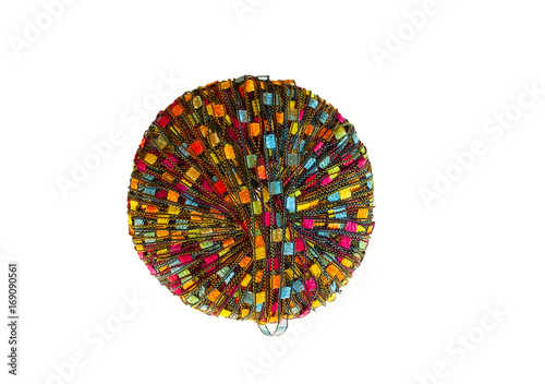Ball of colorful yarn, isolated on white