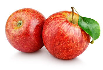 Two ripe red apple fruits with green leaf isolated on white background. Red apples with clipping path