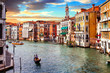 Venetian sunset. Romantic travel in Venice. Grand Canal. Italy