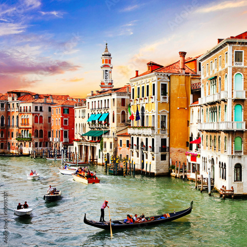 Most beautiful and romantic city Venice over sunset. Italy - 169093787