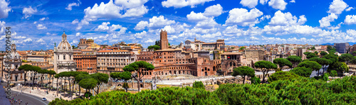 Fotobehang Freesurf Landmarks of Rome .Panoramic view of piazza Venezia and Trajan market.