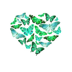 Watercolor heart filled with bright transparent butterflies of blue, green, turquoise, mint shades.