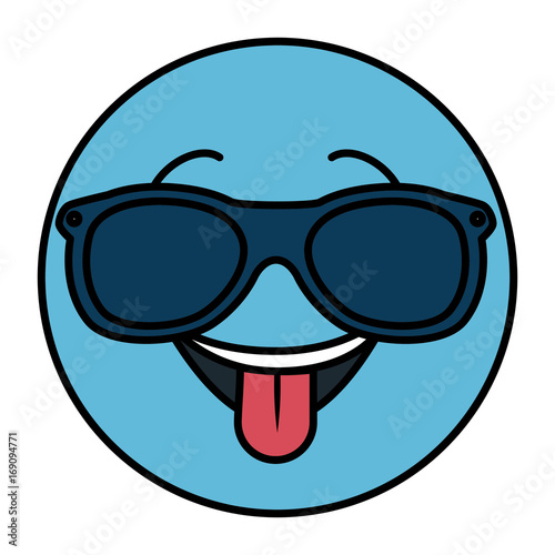 happy with sunglasses emoticon face character icon vector illustration design