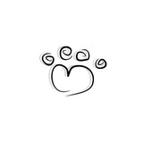 pet paw icon vector doodle