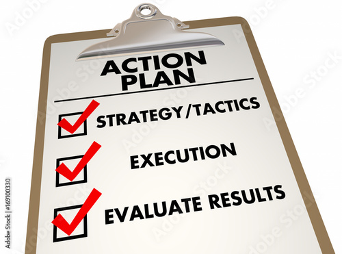 Action Plan Clipboard Checklist Strategy Tactics 3d Illustration