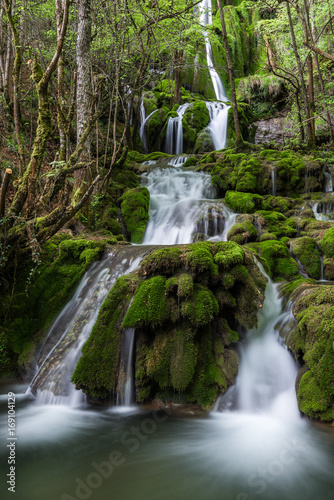 Fotobehang Betoverde Bos Toberia Waterfalls at Entzia mountain range, Basque Country, Spain