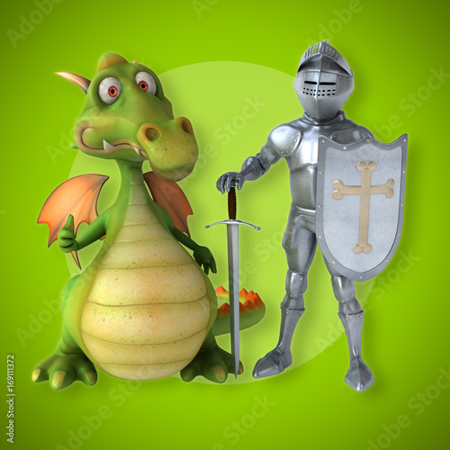 Knight and dragon - 3D Illustration