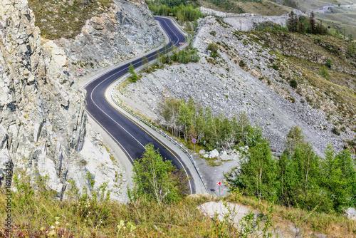 road mountains curve pass asphalt
