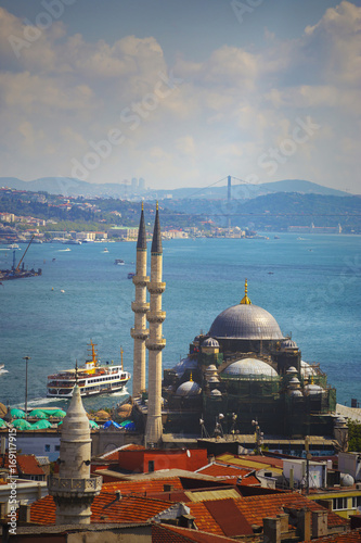 Istanbul Aerial View with Halic and Bosphorus Poster