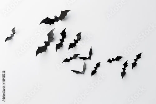 black paper bats over white background Poster