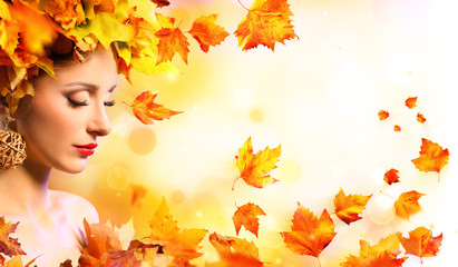 Autumn Girl - Beauty Model Woman With Orange Leaves In Hairstyle