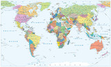 Political World Map - borders, countries and cities - 169132509