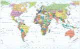 Colored World Map - borders, countries, roads and cities. Isolated on white - 169133164