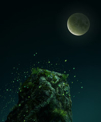 Fantasy stone in the mooon light.  3D rendering
