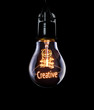 Hanging lightbulb with glowing Creative concept.