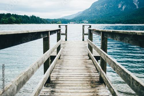 Fotobehang Pier Wooden Jetty On Mountain Lake
