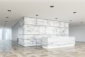 Marble and glass reception lobby side closeup