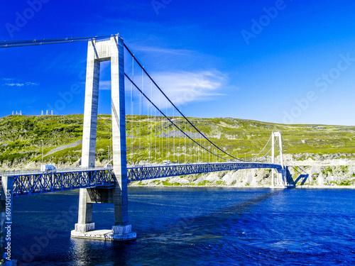 Tuinposter Donkerblauw Kvalsund, Brücke, Norwegen, Finnmark