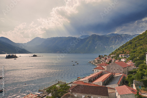 Sveti Dorde and Our Lady of the Rocks from bell tower of St. Nikola church of Perast, Montenegro