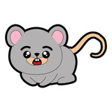 kawaii mouse animal icon over white background colorful design vector illustration