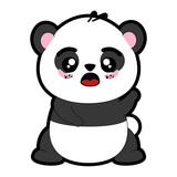 kawaii panda bear icon over white background colorful design vector illustration