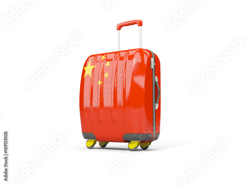 Luggage with flag of china. Suitcase isolated on white