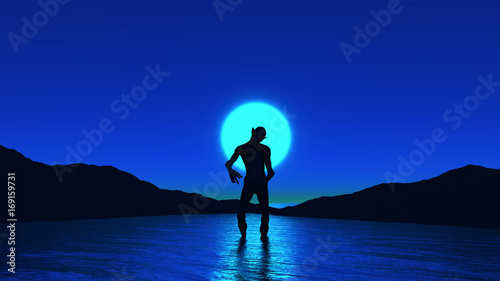 Fotobehang Donkerblauw 3D creature in ocean against night sky