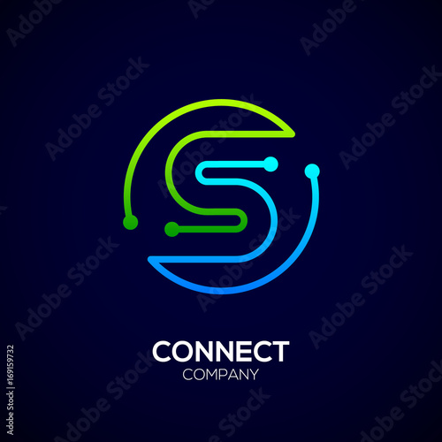 Letter S Logo Circle Shape Symbol Green And Blue Color Technology