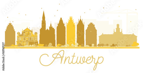 In de dag Antwerpen Antwerp City skyline golden silhouette.