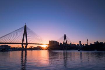 Sunrise with clear sky at Anzac Bridge, Sydney, Australia