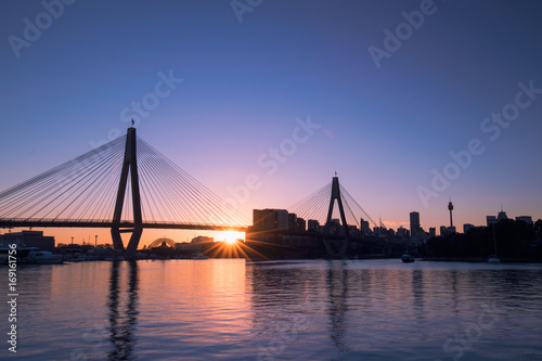 Fotobehang Sydney Sunrise with clear sky at Anzac Bridge, Sydney, Australia