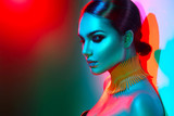 Fashion model woman in colorful bright lights posing. Portrait of beautiful sexy girl with trendy makeup - 169169523