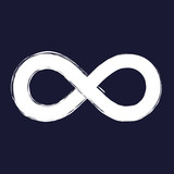 Vector image of the sign of infinity. Vector white icon on dark blue background. - 169171921
