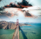Overhead view of Golden Gate Bridge from helicopter, San Francisco - 169173902