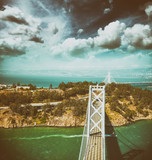 Overhead view of Bay Bridge in  San Francisco from helicopter, CA - 169174156