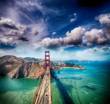 Overhead view of Golden Gate Bridge from helicopter, San Francisco - 169174349