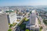 LOS ANGELES - JULY 28, 2017: Aerial view of Downtown Los Angeles. Downtown LA is known for its government buildings, parks, theaters and other public places - 169174362