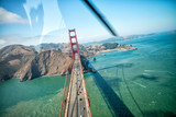 Overhead view of Golden Gate Bridge from helicopter, San Francisco - 169174394