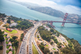 Aerial view of San Francisco Golden Gate Bridge and US Highway 101 from Helicopter - 169174925