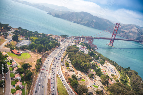 Aerial view of San Francisco Golden Gate Bridge and US Highway 101 from Helicopter