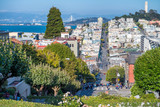 SAN FRANCISCO - AUGUST 7TH, 2017 - Tourists in Lombar Street. It is claimed as the most crooked street in the world, located along the eastern segment in the Russian Hill neighborhood - 169175504
