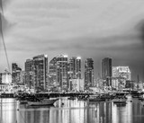San Diego, California. Night view of Downtown buildgs with water reflections - 169176553